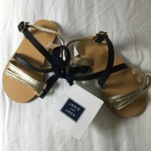 Janie and Jack Girls Navy & Gold Sandals